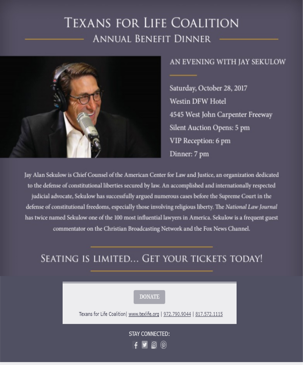 2017 Texans for Life Coalition Benefit Dinner