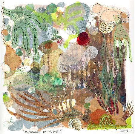 _Anemone on the Rocks_ - Mixed media on