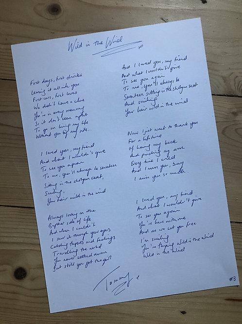 Handwritten Lyrics: Wild in the Wind