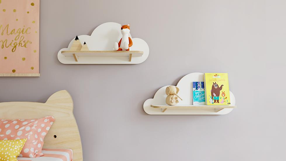 מדפים בצורת עננים לילדים