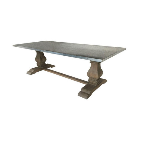 Belgian Style Dining Table With Double Barade Base Made Of Old Pine A Vintage Gray Patina Top Is Zinc