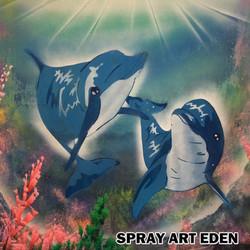 Dolphin Couple (spray paint art)