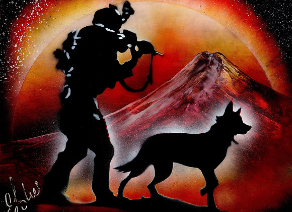 Soldier with loyal dog