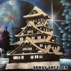 Osaka Castle (spray paint art)