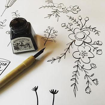 My desk today, pen & ink! #winsorandnewt