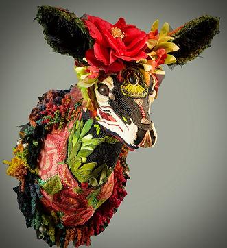 deer trophy art, bead art, Frida, textile art, taxidermy art