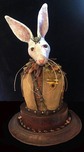 Paper mache rabbit sculpture, textile art, Roseblade Art