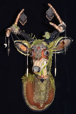 Roseblade Art deer trophy art, beading arts, mixed media