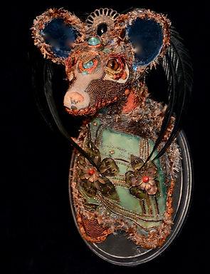 fox sculpture, bead sculpture, roseblade art, textile art