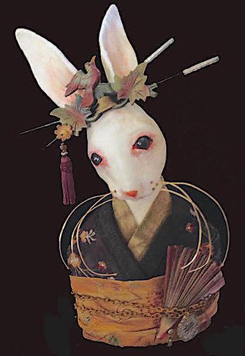 Paper mache rabbit, roseblade art, geisha rabbit, textile art