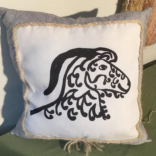 Angora Goat Pillow - grey on grey pattern