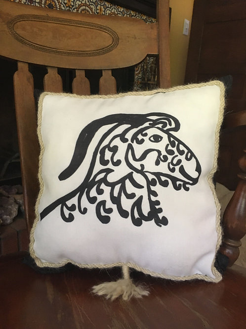Angora Goat Pillow - grey on black pattern