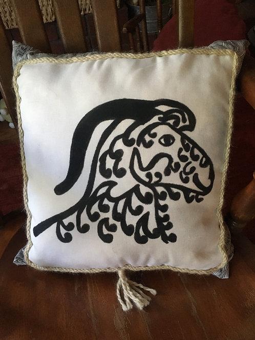 Angora Goat Pillow - black on white pattern