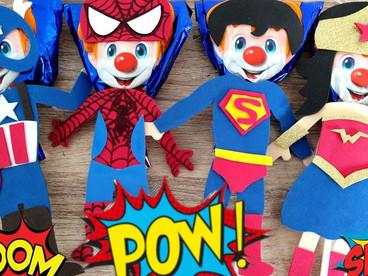 PALETAS Payaso decoradas/ Súper Héroes // Spiderman / capitán América / Superman / mujer maravilla