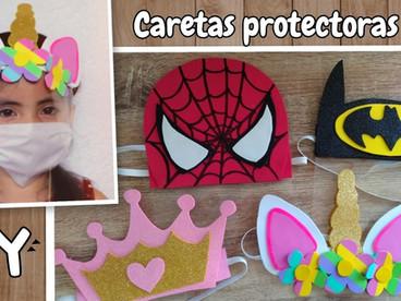 Cómo hacer una careta protectora  facial para niños | Unicornio 🦄 Spiderman🕷️ Princesa 👑 Batman