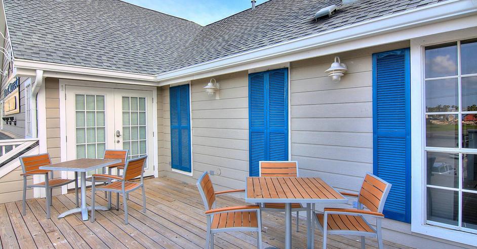 Shared veranda upstairs at Trout Street Bar & Grill