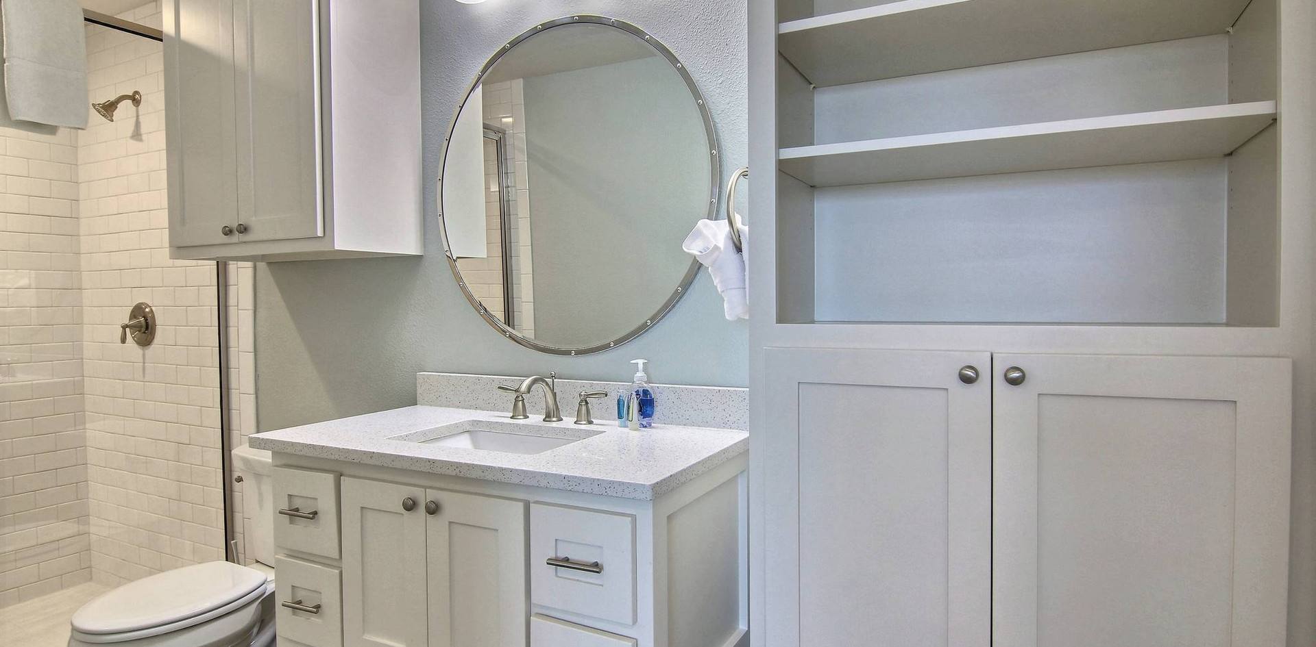 Walk in Shower and loads of storage space!