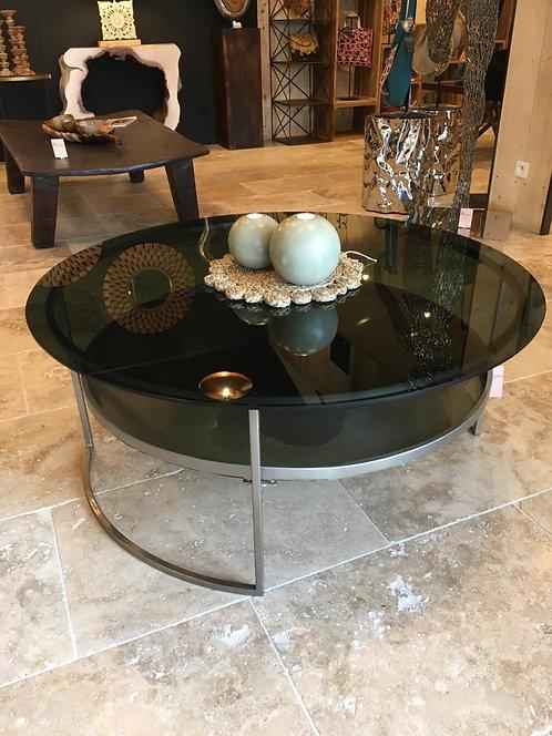 Table basse ronde  métal + verre fumé
