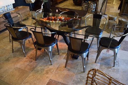 Table à manger métal et verre