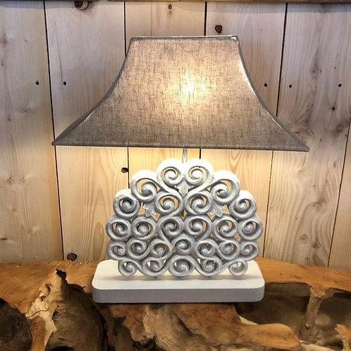 Lampe bois sculptée NUAGE grise
