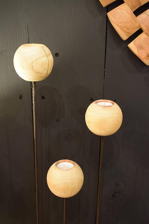 Bougeoir boules en bois