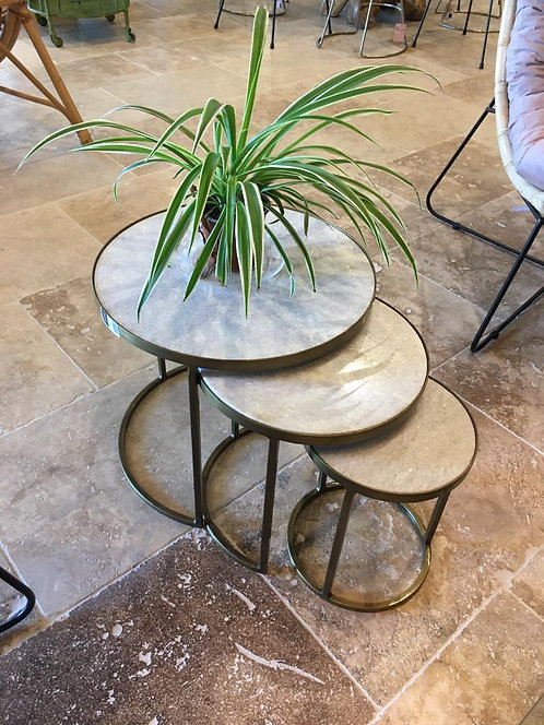 Tables gigogne métal + marbre