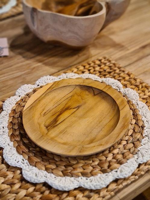 Assiette en teck D.20 cm