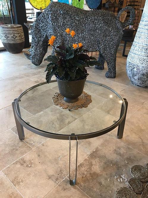 Table basse ronde métal + verre