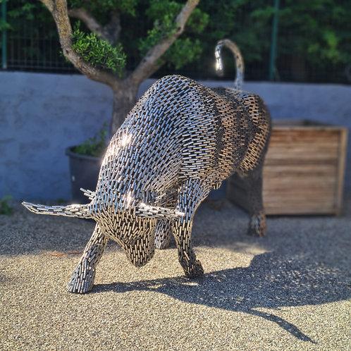 Sculpture métal nickelée Buffle