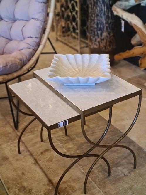 Table gigogne marbre et métal
