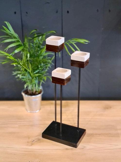 Bougeoir carré métal et bois