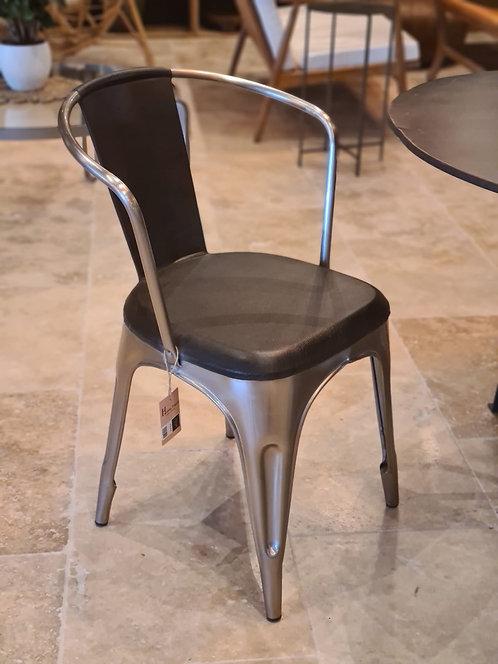 Chaise de table métal et cuir noir