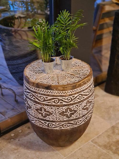 Table d'appoint en palmier sculptée
