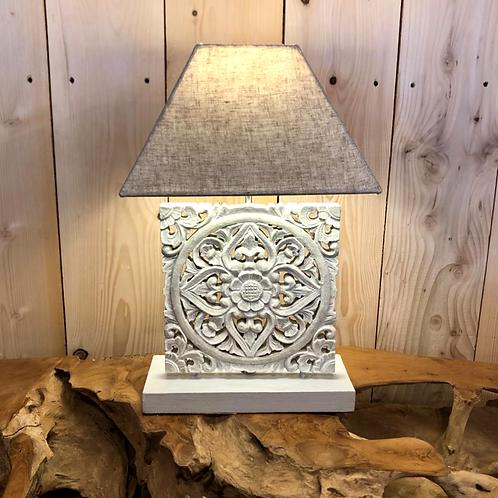 Lampe bois sculptée BB 25x25