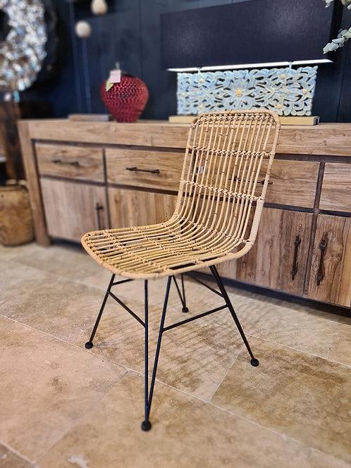 Chaise de table métal et rotin