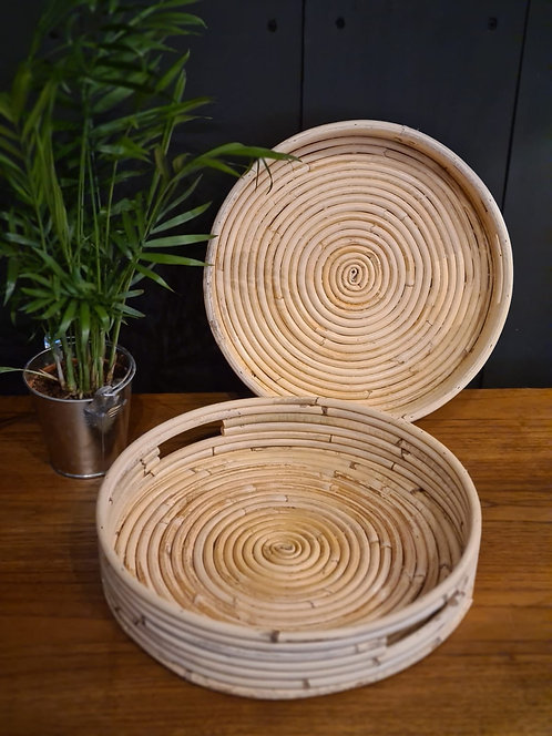 Plateau rond en rotin taille S