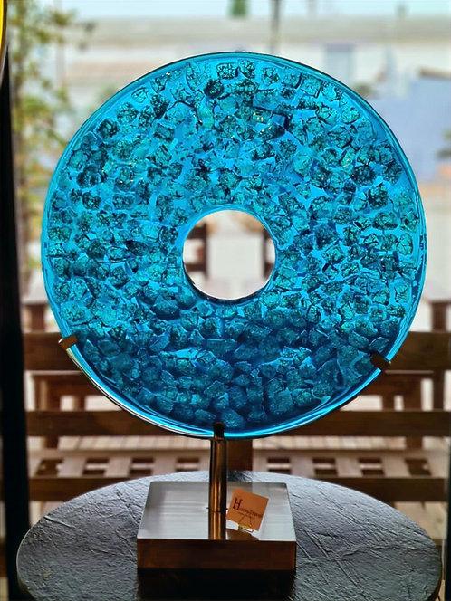 Sculpture verre et résine bleue