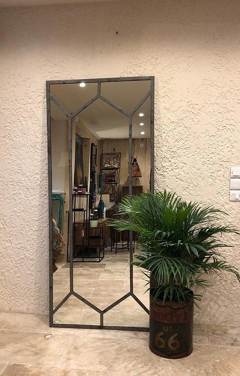 Miroir métal atelier patiné
