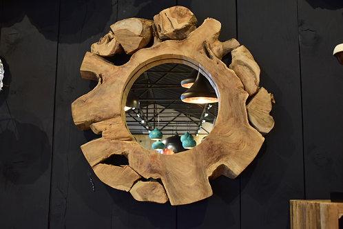 Miroir rond en racine de teck D.60