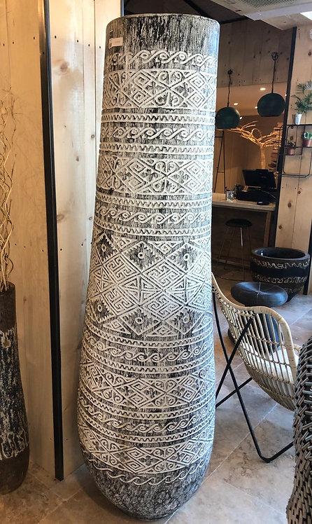 Pot palmier sculpté grand modèle blanc