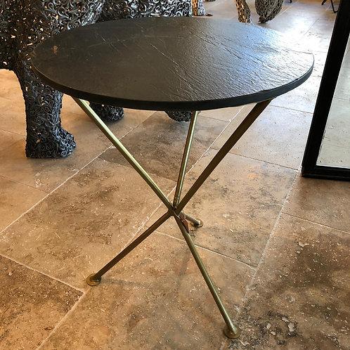 Table ronde métal et pierre naturelle