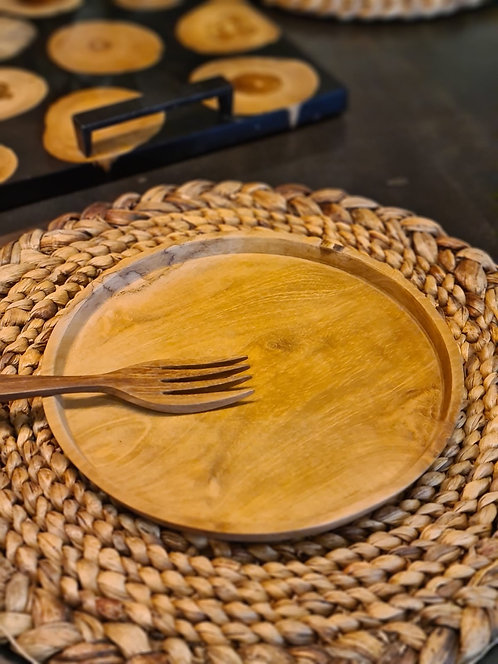 Assiette en teck D.22 cm