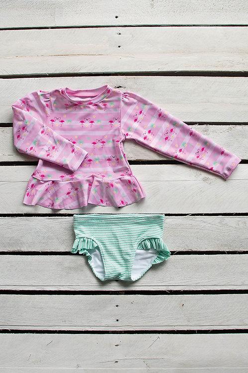 Flirty Flamingo Long Sleeve Sun Shirt with Ruffle Bottom Set
