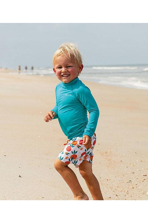 Tropical Fruit Long Sleeve Sun Shirt and Swim Trunk Set