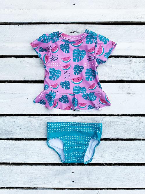 Watermelon & Palms Short Sleeve Rash Guard and Swim Bottoms