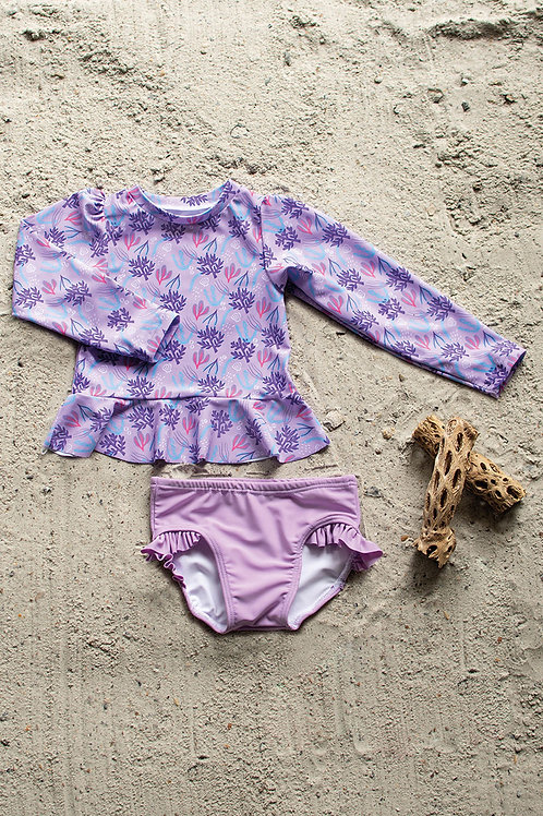 Coral Reef Long Sleeve Sun Shirt with Ruffle Swim Bottom Set