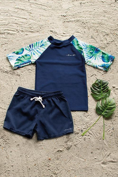 Royal Palms Short Sleeve Sun Shirt with Bottom Set