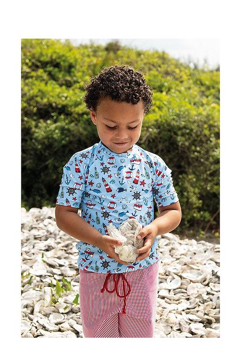 Coastal Cutie Long Sleeve Sun Shirt and Swim Trunk Set