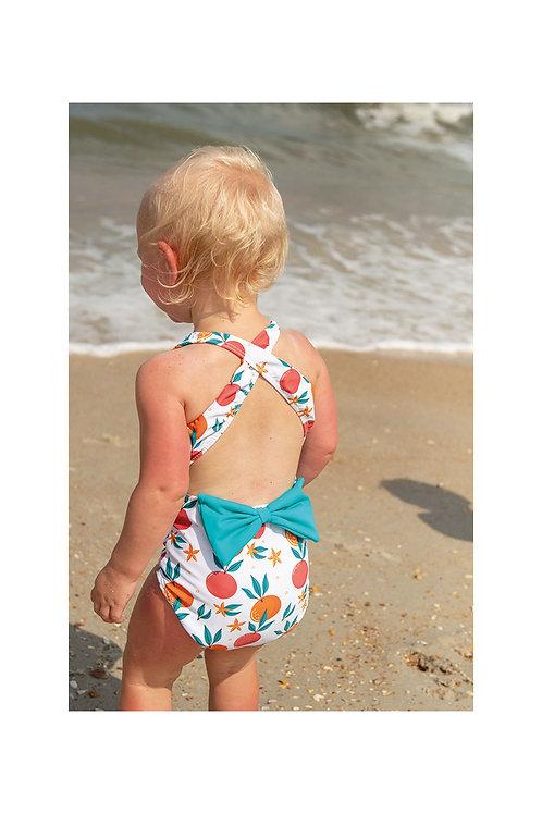 Tropical Fruit Criss Cross Bow Back Swimsuit
