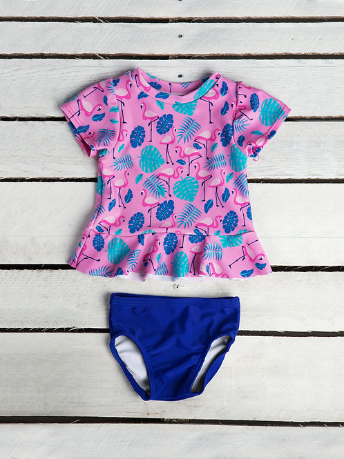 Tropical Flamingo Short Sleeve Rash Guard with Swim Bottom
